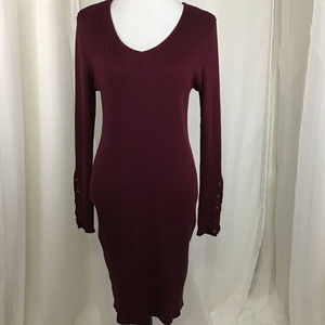 NoBo Red Ribbed Sweater Dress XXL